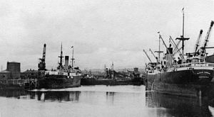 Workington - Workington Dock, with iron ore ships from Sweden