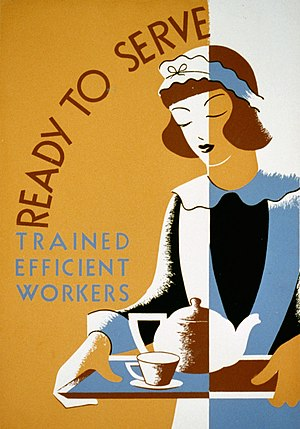 Maid service - Stylized drawing of a maid on a Works Progress Administration poster