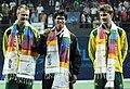 XIX Commonwealth Games-2010 Delhi Tennis (Men's Single) Somdev Devvarman of India (Gold), Greg Jones of Australia (Silver) and Matt Ebden of Australia (Bronze), during the medal presentation ceremony.jpg