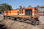 Orange-and-white loco