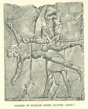 Yahu-Bihdi - Yahu-Bihdi being flayed alive, from an Assyrian engraving.