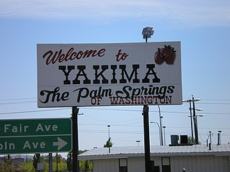 Yakima, Washington - Welcome sign on I-82.