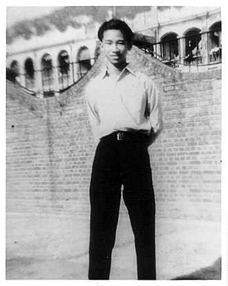 Szeto Wah - Szeto Wah in front of Yau Ma Tei Governemnt School in 1947.