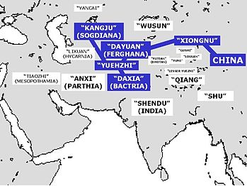 Countries described in Zhang Qian's report. Visited countries are highlighted in blue.