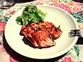 Grilled salmon with lattuce