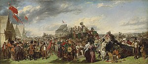 "The Derby Day - Frith's much smaller ""first study"" for the painting, sold for £505,250 in December 2011."