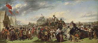 """The Derby Day - Frith's much smaller """"first study"""" for the painting, sold for £505,250 in December 2011."""