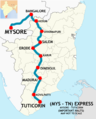 (Mysore - Tuticorin) Express Route map.png