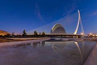 Assut de lOr Bridge single-pylon cable-stayed bridge in Valencia, Spain