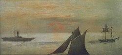 Édouard Manet: Bateaux en mer, soleil couchant