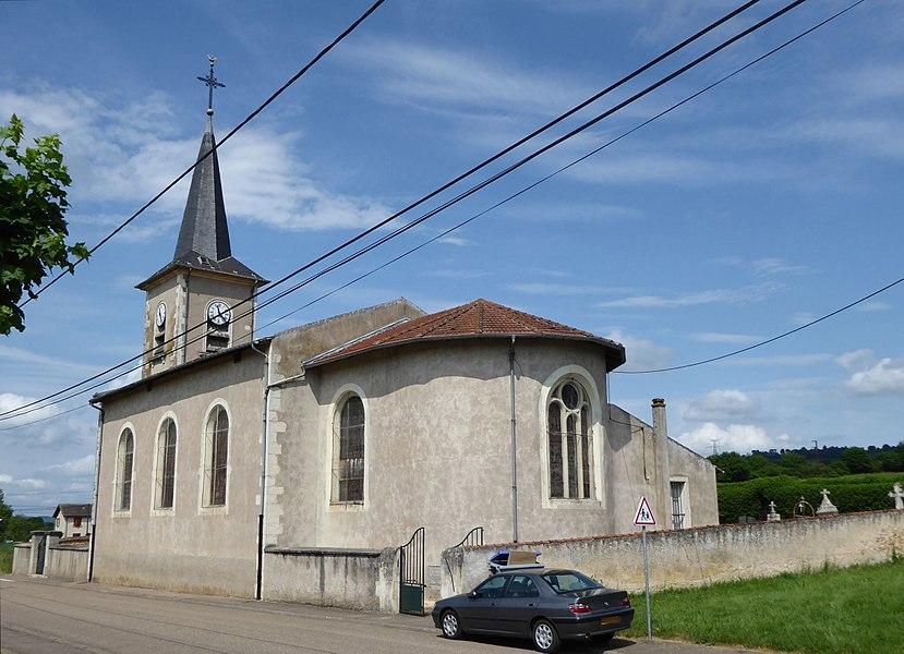Face sud de l'église de Montenoy en Meurthe-et-Moselle (France).