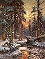 Зимний закат в еловом лесу - Julius von Klever (1896).jpg