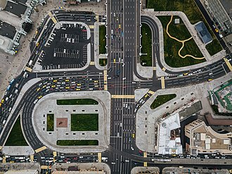 Intersection (road) - Intersection at Tverskaya Zastava Square in Moscow, Russia