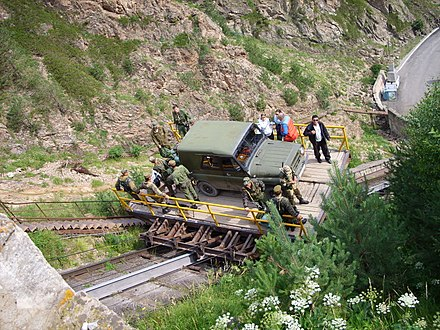 A stationary engine cable way at the Adyr-Su Gorge (Caucasus, Russia)