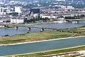 090R23310782 Blick vom Donauturm, Entlastungsgerinne in Bau, Blick Brigittenau, Gasometer Forsthausgasse, Nordbahnbrücke,.jpg