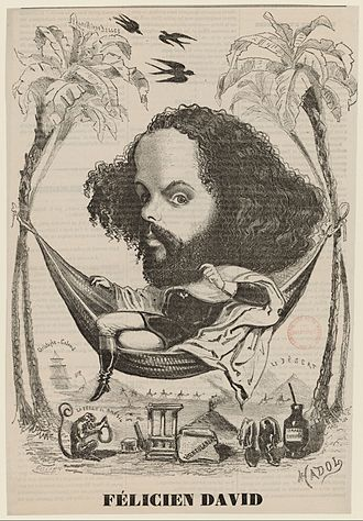 Félicien David - David in a Brazilian setting (a reference to his 1851 opéra comique, La perle du Brésil) surrounded by comic allusions to several of his major works, from an undated theatrical illustration (ca. 1860).
