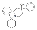 1-(1-PhCHX)-4-Ph-4-OH-piperidine structure.png