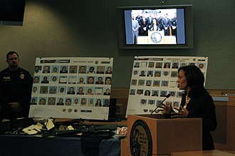Gang - California Attorney General Kamala Harris announced the arrest of 101 gang members on June 8, 2011