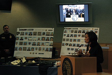 California Attorney General Kamala Harris announced the arrest of 101 gang members on June 8, 2011 101 Gang Members Arrested in Central Valley 06.jpg
