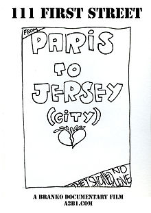 """From Paris to Jersey City they showed no love"" It is an artwork made in black ink In the middle there is a broken heart. This movie poster is cheaply printed: the only color is black, on a white background."