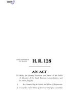 116th United States Congress H. R. 0000128 (1st session) - Small Business Advocacy Improvements Act of 2019 B - Engrossed in House.pdf