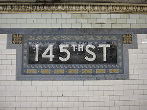 145th Street (IRT Broadway–Seventh Avenue Line) - Name mosaic