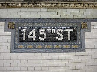 145th Street (IRT Broadway–Seventh Avenue Line) - Name mosaic