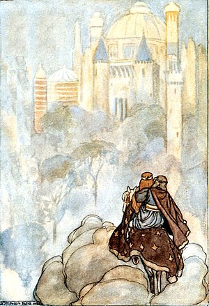 Celtic Otherworld - Oisín and Niamh approaching a palace in Tír na nÓg, illustration by Stephen Reid in T. W. Rolleston's The High Deeds of Finn (1910)
