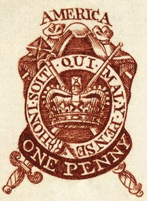 Revenue stamps of the United States - A proof copy of a stamp prepared for the 1765 Stamp Act