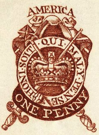 St Edward's Crown - Image: 1765 one penny stamp