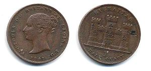 Gibraltar real - 1842 Half Quart issue