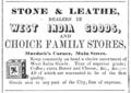 1848 Stone and Leathe Main Street advert Cambridge Directory Massachusetts US.png