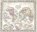 1864 Mitchell Map of the World on Hemisphere Projection - Geographicus - WorldHemi-mitchell-1864.jpg