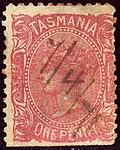 1871 1d rose-red Tasmania plume wmrk 10 Yv23 Mi20X SG127.jpg