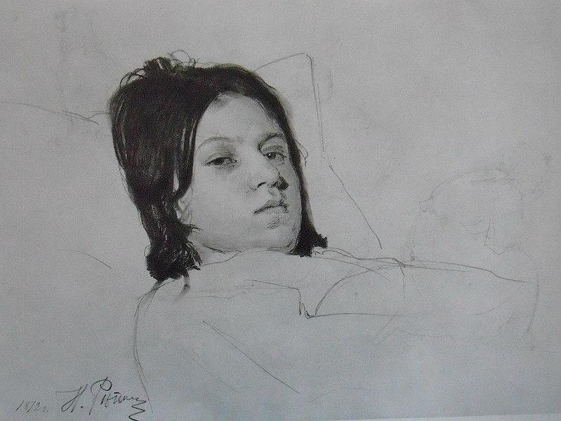 File:1872Голова лежащей женцины В.А. Репина.JPG