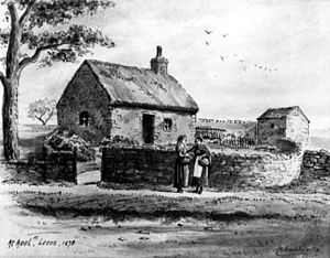 Drawing of a cottage in Adel Yorkshire in 1878 ...