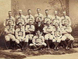 Doc Bushong - Albert Doc Bushong back row, 2nd from right, with 1889 Brooklyn Bridegrooms.
