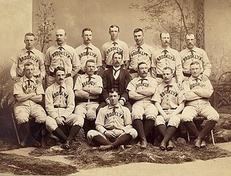 Doc Bushong - Albert Doc Bushong back row, 2nd from right, with 1889 Brooklyn Bridegrooms.