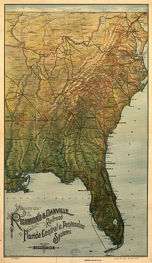 Richmond and Danville Railroad - 1893 map (also showing the Florida Central and Peninsular Railroad and connections)