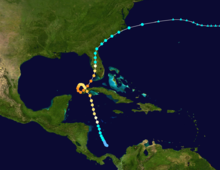 A map depicting the track of a hurricane that starts in the southern Caribbean, heads north towards Cuba, and completes a counter-clockwise loop in the extreme southern Gulf of Mexico. It then proceeds northeastward through the Florida Peninsula and ultimately dissipates over the Atlantic.