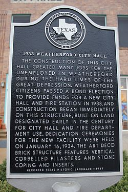 1933 city hall, weatherford, texas historical marker (6974295889)