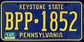 1987 Pennsylvania license plate BPP-1852.jpg