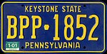 1987 Pennsylvania license plate BPP-1852.jpg
