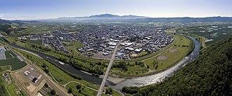 Furano, Hokkaido - Aerial panorama of Furano