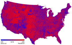 Presidential popular votes by county as a scale from red/Republican to blue/Democratic.