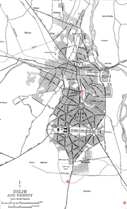 Delhi map showing the location of the bomb blasts: (1) Pahargunj, (2) Sarojini Nagar market, (3) Govindpuri
