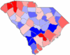 Red counties were won by Sanford and blue counties were won by Moore