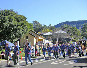Wendy Richardson - Miners marching past the memorial to the Mount Kembla mine disaster, July 2006