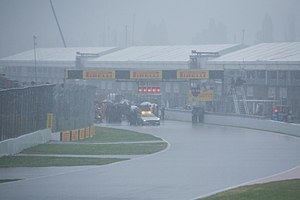 2011 Canadian Grand Prix - Heavy rain hit the circuit forty minutes into the race. Initially the FIA tried to keep the race going behind the safety car, but the track conditions were undriveable and the race was suspended.