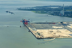 JadeWeserPort - Aerial view of the JadeWeserPort construction site, May 2012